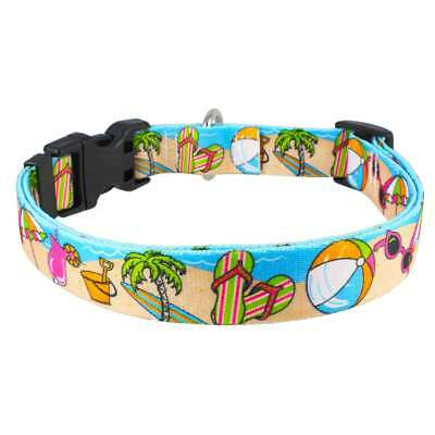 Beach Party Nylon Dog Collar Patterned Webbing Summer Sea Sand Surf Style