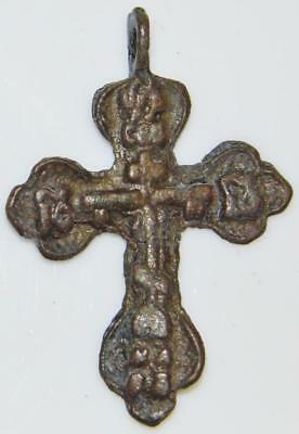 Rare Medieval Byzantine 4 Evangelists Orthodox Cross Crucifix Bronze Pendant 2""
