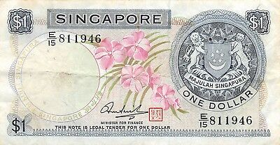 Singapore 1 Dollar, 1967-72 P.1d With Red Seal Circulated