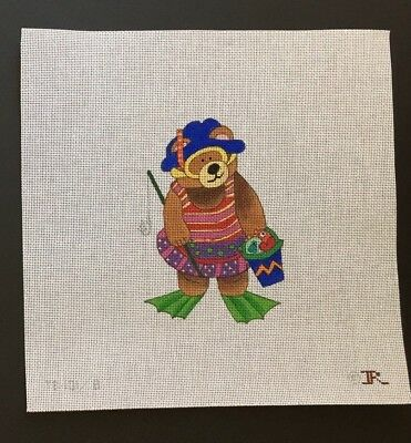 """Renaissance Designs Hand-painted Needlepoint Canvas """"August Bear"""" at the Beach"""