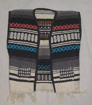 Vintage Childs Mexico Blanket Vest Serape Biker Hippy Fringe Wool Toddler small