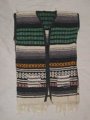 Vintage Childs Mexico Blanket Vest Serape Biker Hippy Fringe Wool Toddler Medium
