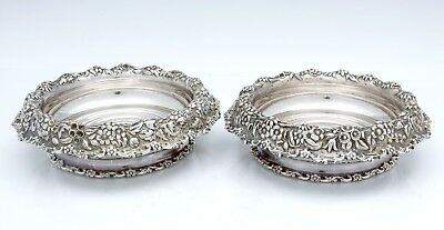 Pair TIFFANY Silver Soldered CHAMPAGNE wine COASTERS c1880 Chased Border