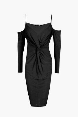 e8fa37d2a48957 Boohoo Slinky Knot Front Open Shoulder Midi Dress black party night out  size 8