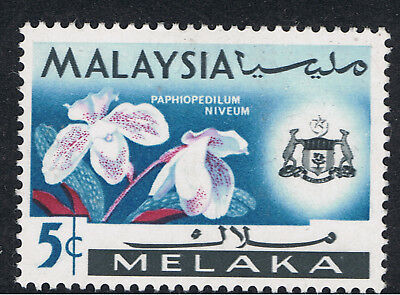 MALAYSIA / MALACCA 1965 5c ORCHID MISSING YELLOW STAMEN