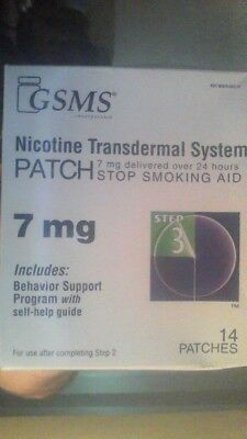 GSMS Nicotine Patch Transdermal System Step 3, 7mg 14 PATCHES Exp 12/18