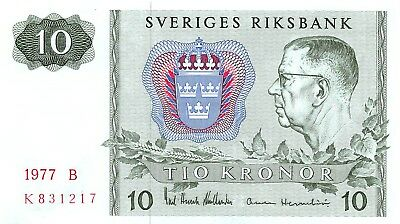 Sweden 10 Kronor, 1977 P.52d, Almost Uncirculated A.Unc