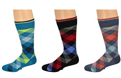 Sierra Socks Fashion Men's Dress Casual 3 Pair Pack Combed Cotton Crew Argyle