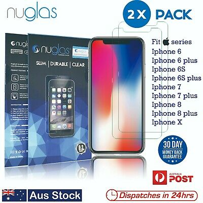 2x NUGLAS Tempered Glass Screen Protector Iphone 5 5C 5S CE  6 6S 7 8 plus X