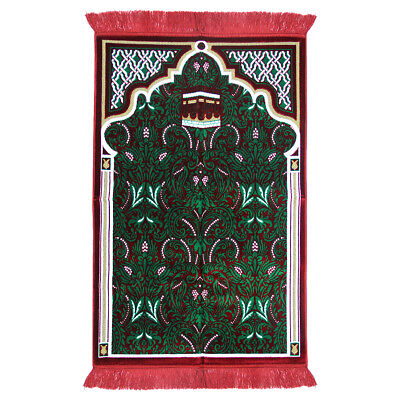 Islamic Muslim Prayer Rug 3.6' x 2.3' Green White Yellow Color with Red Tassels