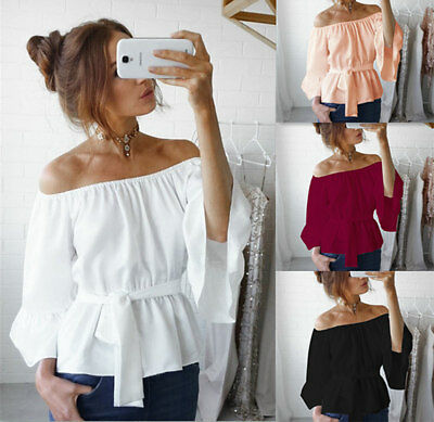 BOHO Women Chiffon Off The Shoulder Casual Loose Long Sleeve T-Shirt Tops Blouse