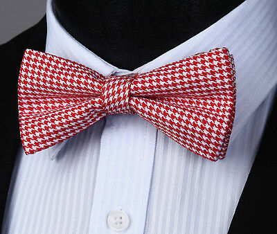 Mens Adjustable Red Bow Ties Formal Pre Tied  Houndstooth&Polka Dot& Plaid Party