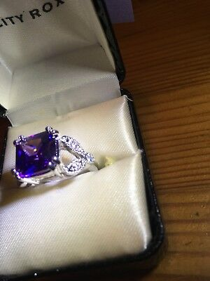 City Rox Amethyst Color Size 8 faux silver and faux diamond encrusted ring