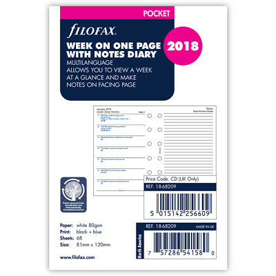 NEW Filofax Pocket Week On One Page with Notes 2018 Refill