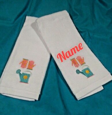 PERSONALIZED EMBROIDERED 2 PC Gardening Spring Towel, Farmhouse Kitchen Towel