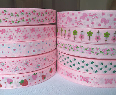 22/25mm Pink  Printed Flower Grosgrain Ribbon for Hand Making Hair Bow Diy Craft