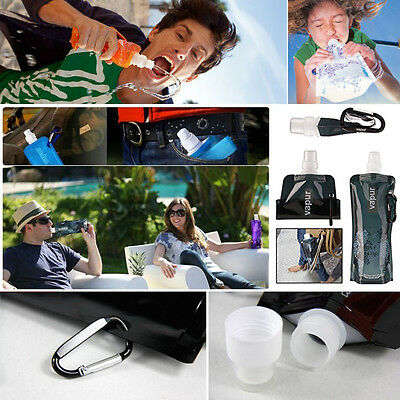 16oz Flexible Collapsible Foldable Reusable Water Bottles Ice Bag Outdoor Gift
