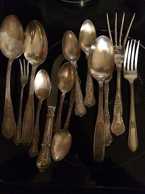 13 Pieces silver plated flatware mixed lot