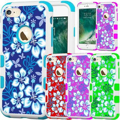 For iPhone 7 Plus 8 Plus Hybrid TUFF Case Cover Colorful Hawaiian Flower Design