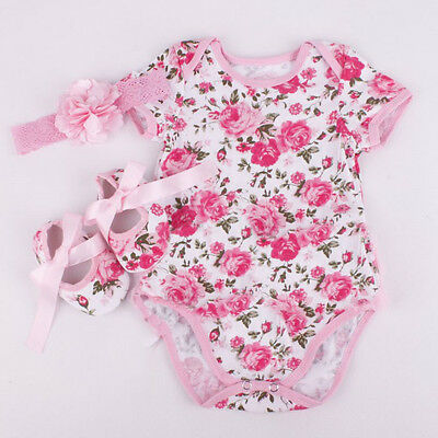 3x  Newborn Baby Girl Floral Romper Bodysuit Outfits Headband Shoes Set C Gift