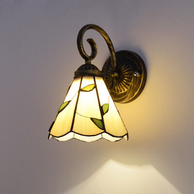 Tiffany Green Leaves Beige Cone Shade 1 Light Wall Lights Sconces Up/Downward