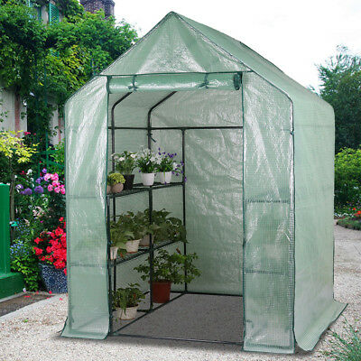 Walk-In Greenhouse Garden Green Hot Plant House Shed Storage PE Cover Apex Roof