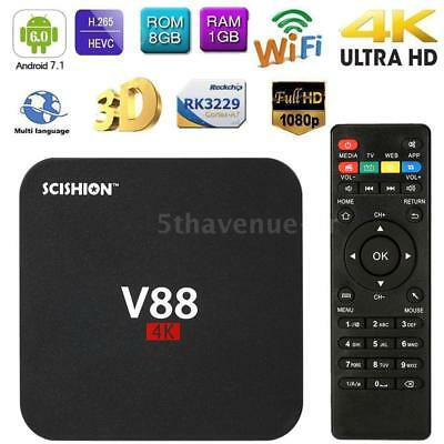 V88 Smart Android 7.1 TV Box RK3229 Quad Core 4K WiFi H.265 DLNA Médias 1GB+8GB