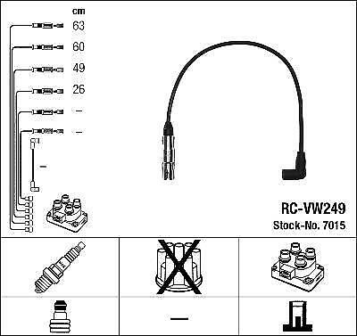 Ignition Ht Lead Set Ngk Rc-Vw249             7015
