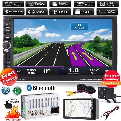 "Deutsch Support Autoradio 7"" Bluetooth Touchscreen 2 Din TF FM + Rückfahrkame"