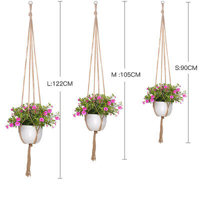 Flower Pot Holder Macrame Plant Hanger Hanging Planter Basket Rope Braided Craft