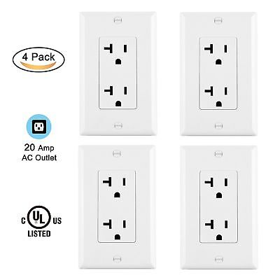 4 Pack BESTTEN DUPLEX RECEPTACLE OUTLET PLUG 20 A AMP WHITE