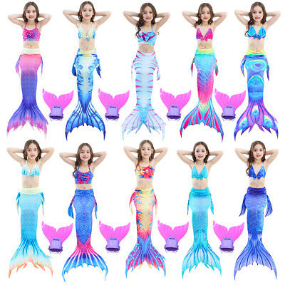 Kids Girls Mermaid Tail Swimmable 3pcs Bikini Set Swimsuit Fin Swimming Costume