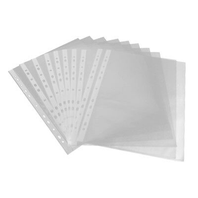 A4 Clear Plastic Punched Pockets Filing Folders Wallets Sleeves value 55 micron