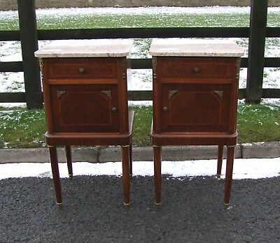 French Empire Style Pair Of Mahogany Marble Topped Bedside Cabinets - (Con175)