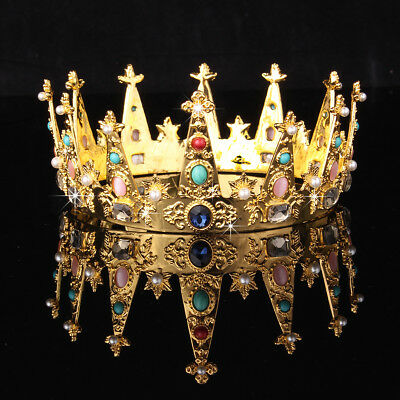 Baroque Gold Plated Bridal Crystal Rhinestone Crown Tiara Wedding Pageant 6cm
