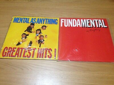 2 x MENTAL AS ANYTHING ORIGINAL VINYL RECORDS - FUNDAMENTAL, GREATEST HITS