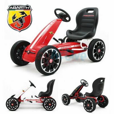 Licensed Abarth Kids Ride On Racing Pedal Go Kart Rubber Tyres Adjustable Seat