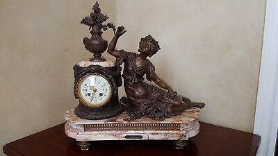 Antique French 19th century bronze sculpture (by Auguste Moreau) marble base