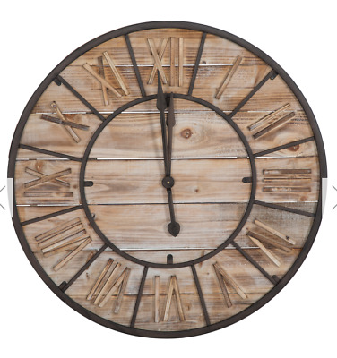 Large Antique Style Brown Wooden Iron Wall Clock Roman Numerals - Diameter 90cm