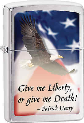 Zippo Classic Give Me Liberty Brushed Chrome Windproof Lighter Z577
