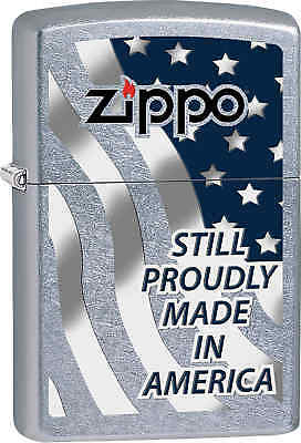 Zippo Classic Still Proudly Made in America Street Chrome Windproof Lighter Z576