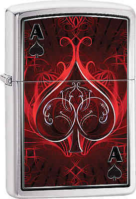 Zippo Classic Black Ace Brushed Chrome Windproof Lighter Z403