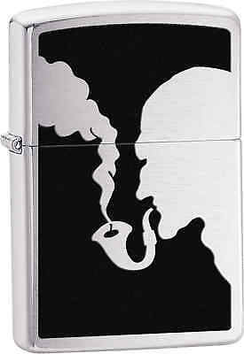 Zippo Classic Man Smoking Pipe Brushed Chrome Windproof Lighter Z265