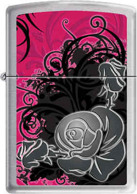 Zippo Classic Rose  Brushed Chrome Windproof Lighter Z258