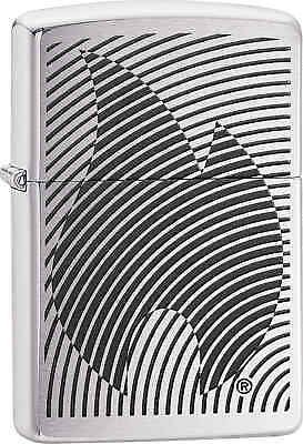 Zippo Classic Illusion Flame Brushed Chrome Windproof Lighter 29429