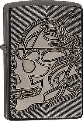 Zippo Classic Armor Deep Carve Skull Black Ice Windproof Lighter 29230