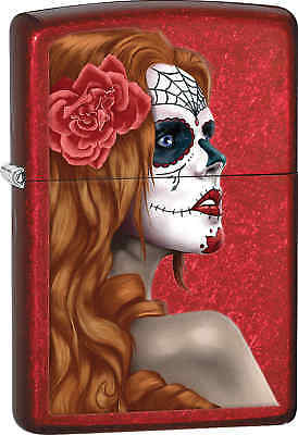 Zippo Classic Mexican Day Of The Dead Candy Apple Red Windproof Lighter 28830