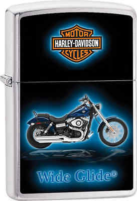 Zippo Classic Harley Davidson Wide Glide Brushed Chrome Windproof Lighter Z651