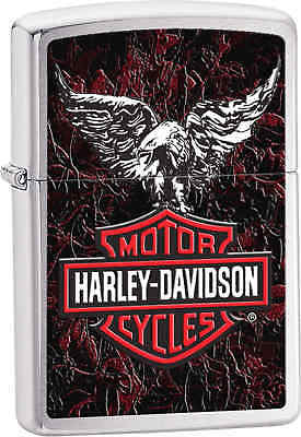 Zippo Classic Harley Davidson Eagle Brushed Chrome Windproof Lighter Z240