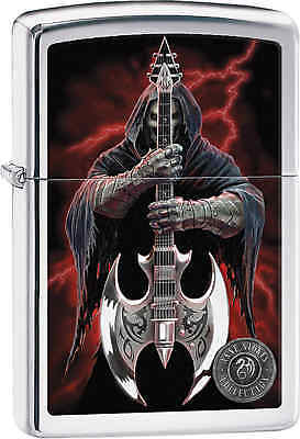 Zippo Classic Grim Reaper Anne Stokes High Polish Chrome Windproof Lighter 29109